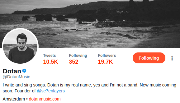 Here's a peek at his account. That's quite a fan following he's got!